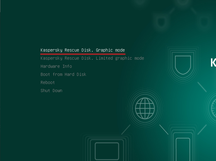 Kaspersky Rescue Disk モード選択画面