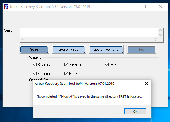 Farbar Recovery Scan Tool