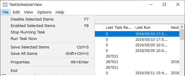 File メニュー(TaskSchedulerView)