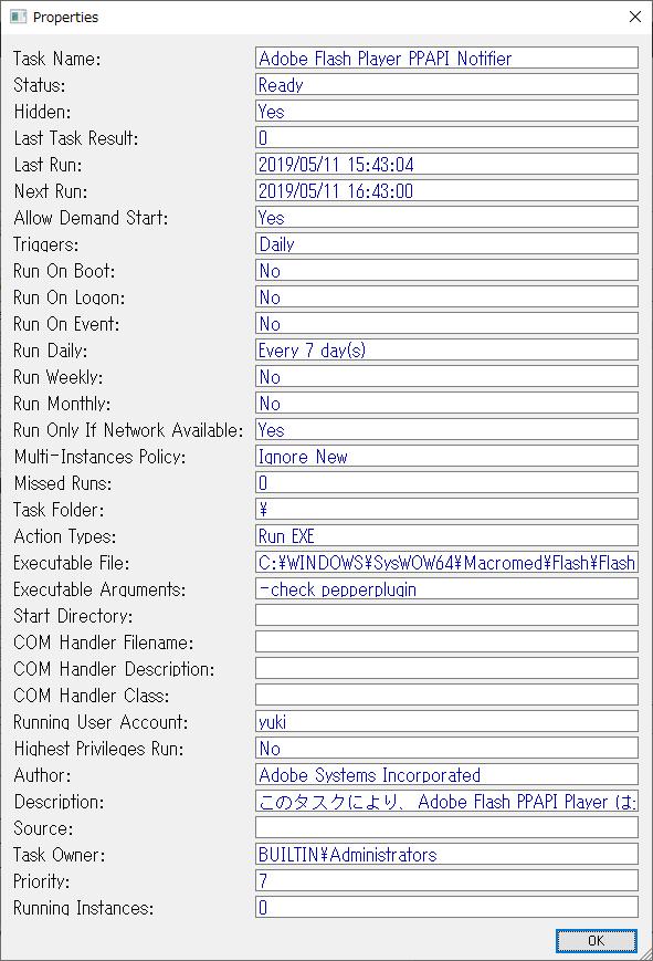 プロパティ(TaskSchedulerView)