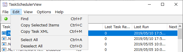 Edit メニュー(TaskSchedulerView)