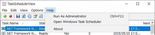 ヘルプメニュー(TaskSchedulerView)