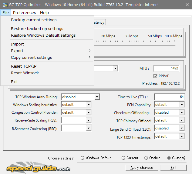 SG TCP Optimizer