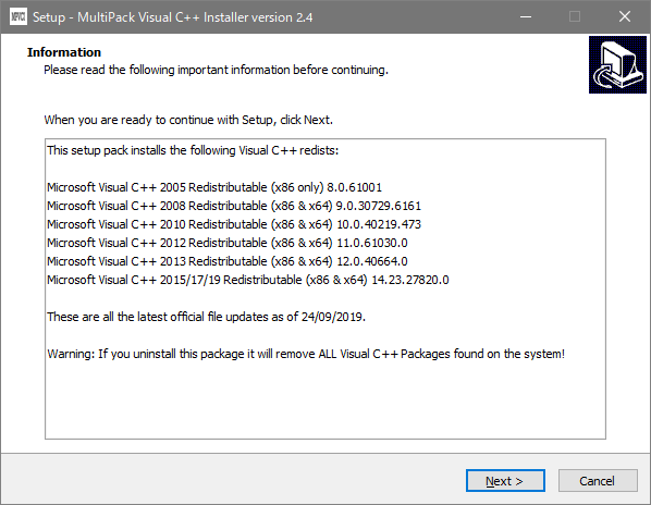 MultiPack Visual C++ Installer