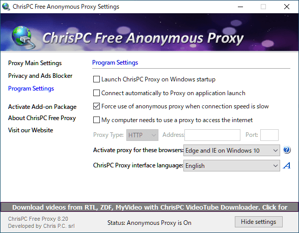 ChrisPC Free Anonymous Proxy