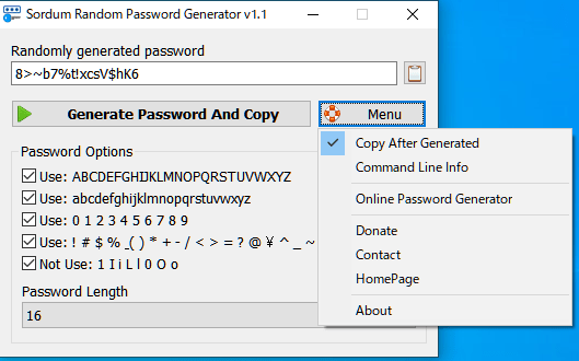 Sordum Random Password Generator