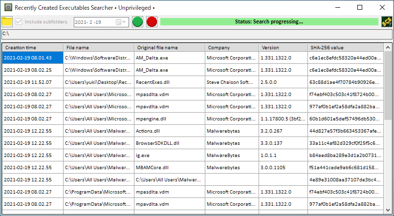 Recently Created Executables Searcher
