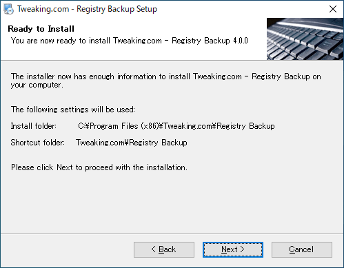 Tweaking.com - Registry Backup