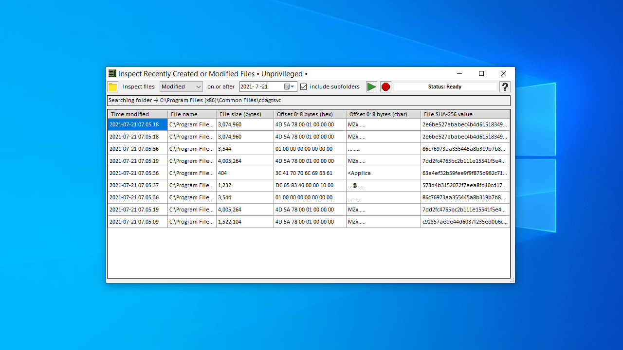 Inspect Recently Created or Modified Files